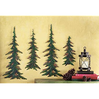 CT DISCOUNT STORE Forever Green Metal Wall Pine Tree Forest ; Transform Your Room Into A Get Away Cozy Woodland Pine Lodge Decor