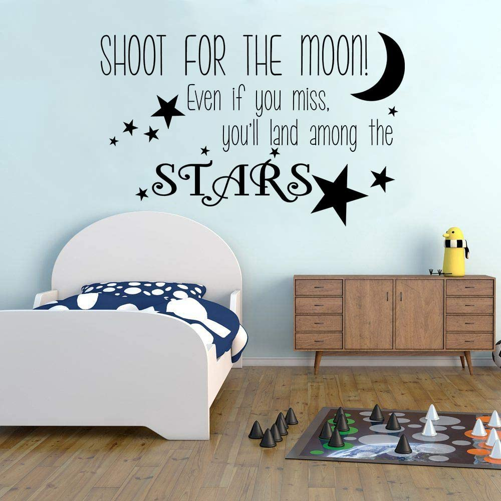 WWYJN Shoot For The Moon Wall Decal Nursery Decor Stars Vinyl Wall ...