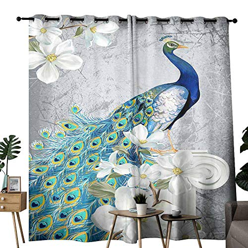 duommhome Classical Curtain White Flowers and Peacocks Facing Right for Living, Dining, Bedroom (Pair) W84 x L108 ()