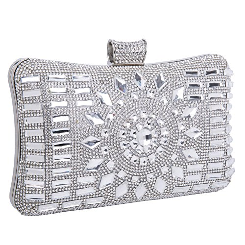 Clutch Women's Handbag Lady Party Crystal Evening Bags Silver - 4