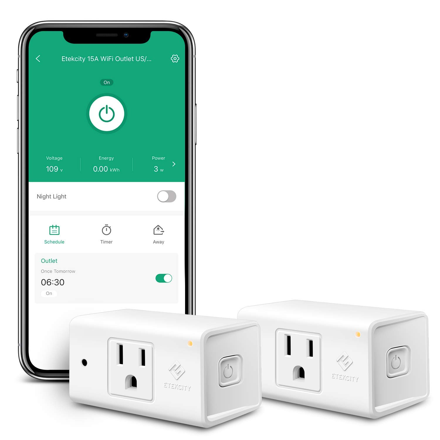 Etekcity WiFi Smart Plug, Energy Monitoring Outlet with Automatic Night Light, Heavy Duty with Timer(2-Pack), No Hub Required, Works with Alexa and Google Home, ETL Listed, White, Lifetime Support