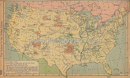 1/8 Sheet ~ Vintage US Indians Map Birthday ~ Edible Image Cake/Cupcake Topper!!!
