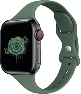 STG Sport Band Compatible with Apple Watch 38mm 40mm 42mm 44mm, Soft Silicone Slim Thin Narrow Replacement Strap Compatible for iWatch SE Series 6/5/4/3/2/1 (Pine Green, 42/44mm)