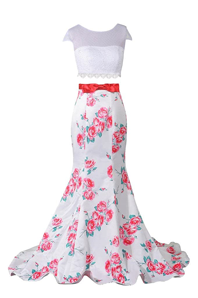 Lowime Women's Sexy Two Pieces Printing Prom Dress Mermaid Evening Gowns