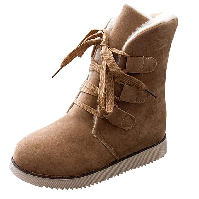 POLP Botas Zapatos señora Invierno Botas Botines y Botas Altas Mujer Además de Terciopelo Mantener Caliente