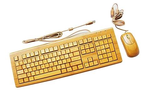 Wired bambú teclado y ratón Set hecho en la mano reunión de madera® Wired teclado