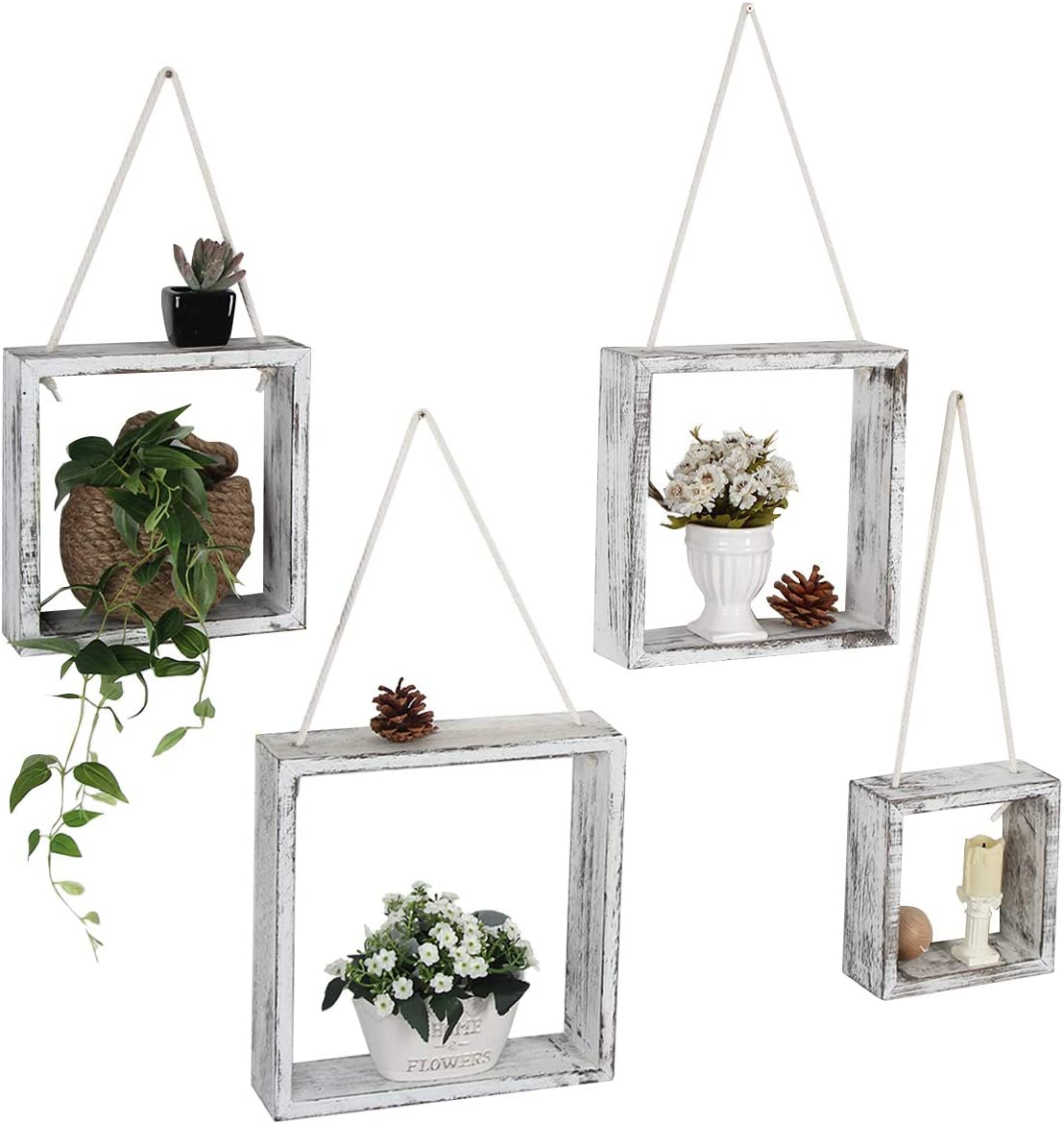 J JACKCUBE DESIGN Floating Hanging Square Shelves Wall Mounted Rustic Wood Cube Display Shelf Shadow Boxes Decorative Boho Home Décor for Living Room, Bedroom, Office, Set of 4 (White) - MK571C