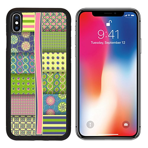 MSD Premium Apple iPhone X Aluminum Backplate Bumper Snap Case set of abstract vector paper for scrapbook IMAGE 26912554