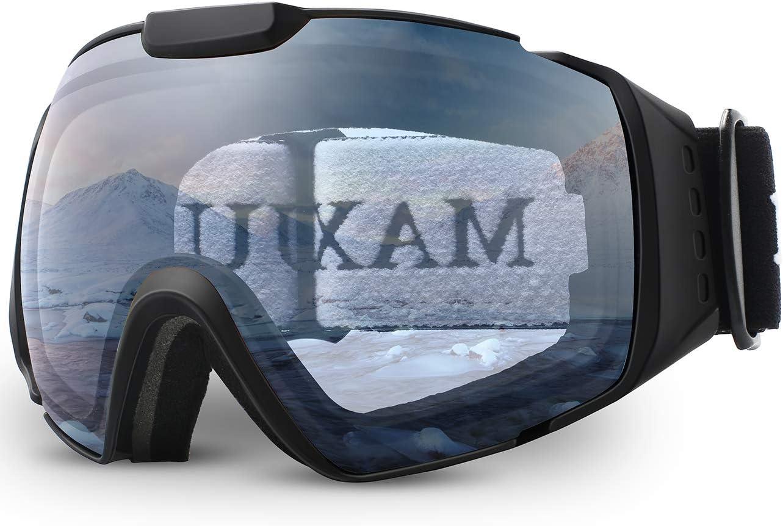 Ski Goggles,OTG Anti-Fog Snowboard Skate Snowmoblie Interchangeable Double Layer Spherical Lens Frameless Snow Goggles Men Women Juli M4