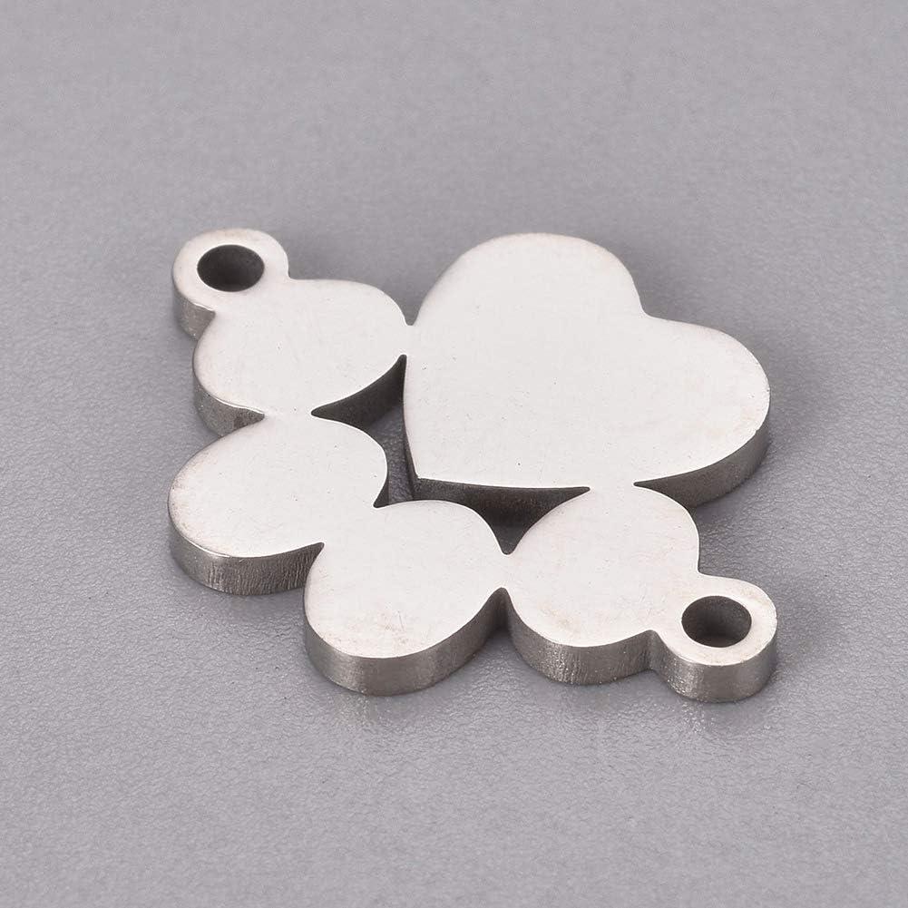 DanLingJewelry Lot de 10 breloques en acier inoxydable 304 avec empreintes de patte de chat et animal pour la fabrication de bijoux