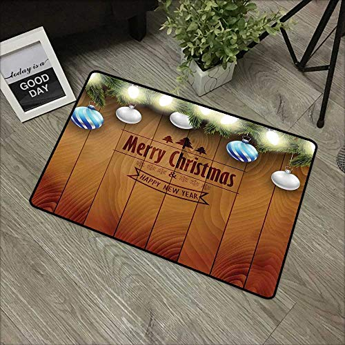 Interior mat W31 x L47 INCH Christmas,Wooden Setting with Silver Balls Fairy Tale Setting and Pine Tree Twigs Wishes Theme,Brown Our Bottom is Non-Slip and Will not let The Baby Slip,Door Mat Carpet ()