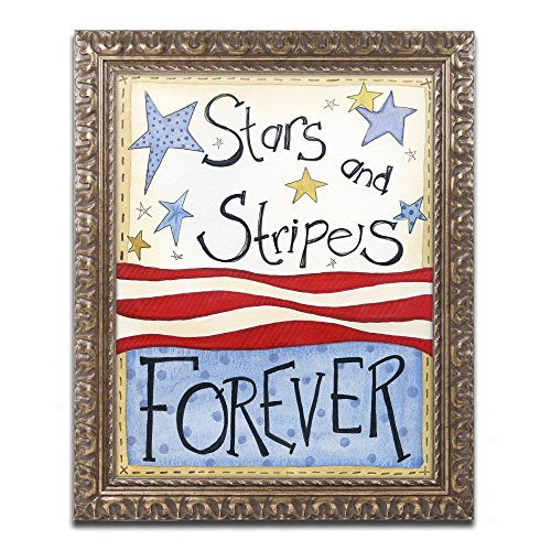 Trademark Fine Art Stars & Stripes by Jennifer Nilsson, Gold Ornate