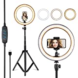 "VillSure 10"" Selfie Ring Light with Tripod Stand, LED Ring Light & Phone Holder for iPhone Android,Ringlight for Live…"