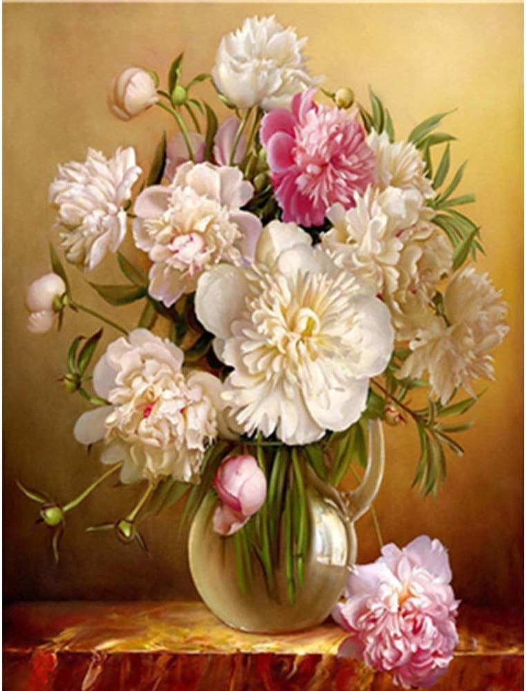 LvJin DIY Pintura Digital Flores Blancas decoración de bodegones, Pintura con números, Pintura al óleo, Pintura con números, Lienzo en Blanco y Negro sin marco20 * 26in