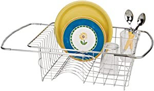 Better Houseware Adjustable Over Sink Dish Drainer in Stainless Steel