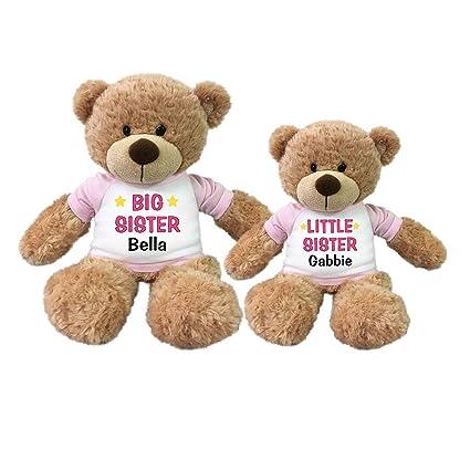 Personalized Big Sister / Little Sister Teddy Bears - Set of 2 Bonny Bears