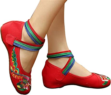 New Women Chinese National Embroidered Floral Shoes Ballerina Flat Ballet Loafer
