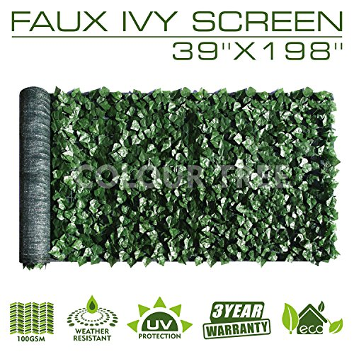 ColourTree Artificial Hedges Faux Ivy Leaves Fence Privacy Screen Panels  Decorative Trellis - Mesh Backing - 3 Years Full Warranty (39