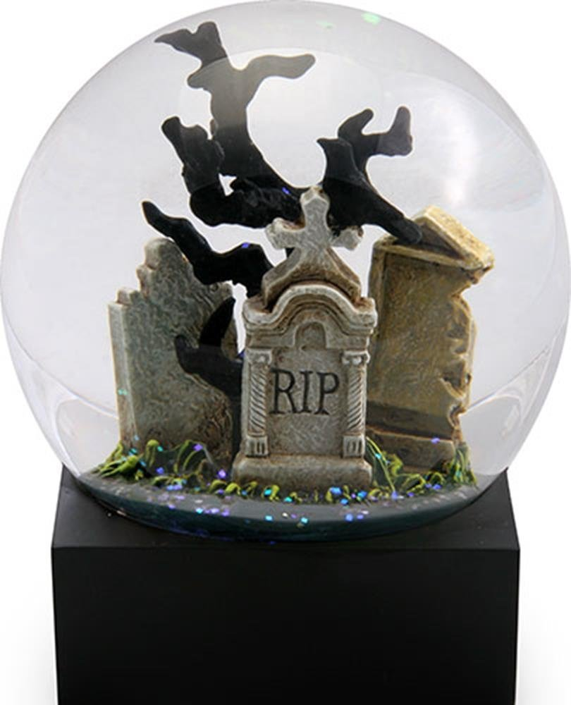 Raven in Cemetery on a Tombstone Water Globe with Crows Flying