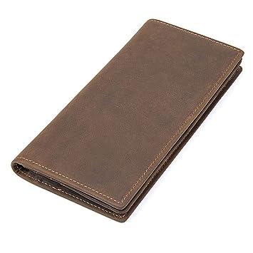 Circlefly Los hombres de moda simple billetera larga retro loco caballo cuero cuero cremallera cartera