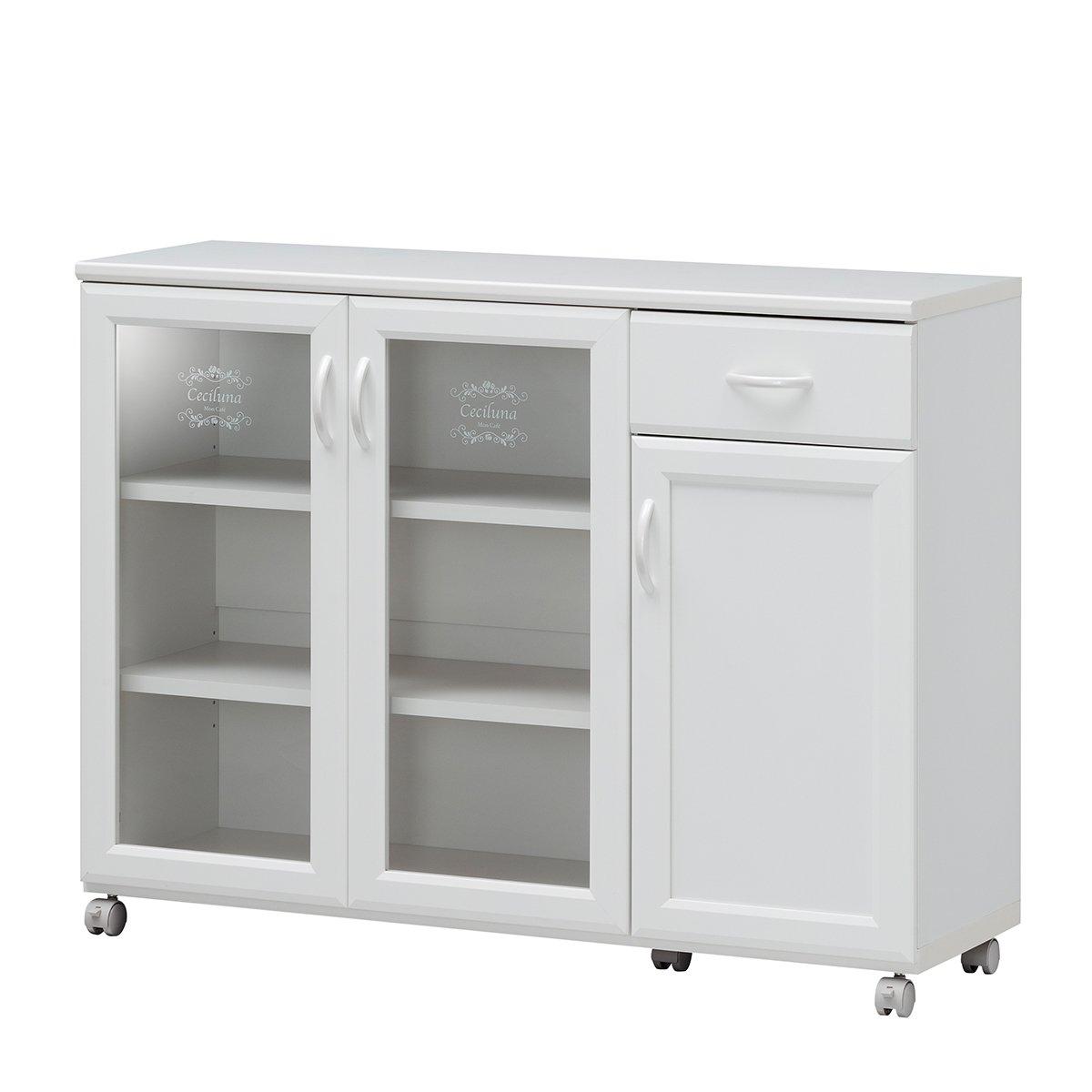 白井産業【SHIRAI】カウンターワゴン 食器棚 キッチン収納 キャスター付 セシルナ ホワイト 白 幅約112cm 高さ約85cm 【2梱包】 CEC-8511CW CEC-8511CW B01HTLO12A Parent