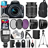 Canon EOS Rebel SL2 DSLR Camera + Canon 18-55mm IS STM Lens + Flash + 0.43X Wide Angle Lens + 2.2x Telephoto Lens + UV-CPL-FLD Filters + 16GB Class 10 Memory Card - International Version