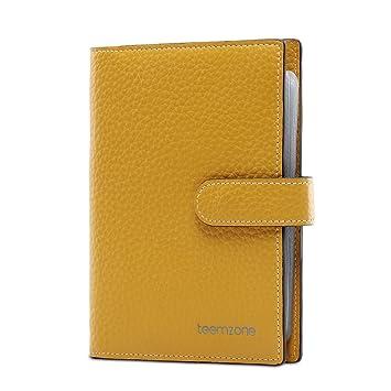 Teemzone RFID Tarjetero Cartera de Piel Funda Tarjetas Credito de 48 Compartimentos (Amarillo): Amazon.es: Equipaje
