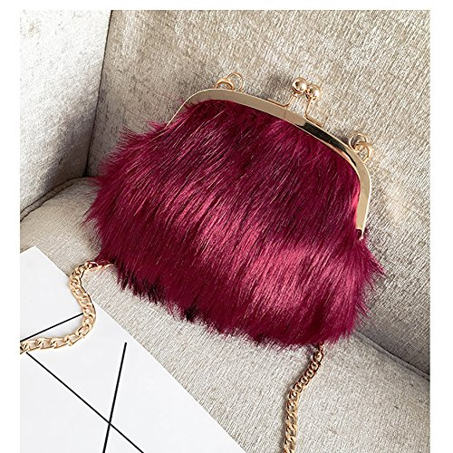 Women Handbags Chain Red Shoulder Purse Crossbody Kiss Fashion Feather Fluffy Faux Lock Soft Mini Fur Bags PUwC00xqnd