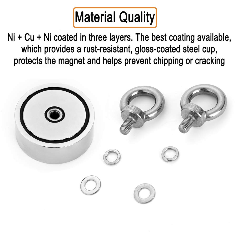 Combined 800 lbs Pulling Force Double-Sided Magnetic Round Neodymium Magnet with Eyebolt Magnet for River Or Lake Fishing. 75mm 2.95 Diameter SDouble Lifting Ring Neodymium Magnet