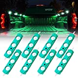 Xprite Led Rock Light for Bed Truck, 24 LEDs Cargo Truck Pickup Bed, Under Car, Foot Wells, Rail Lights, Side Marker LED Rock Lighting Kit w/Switch Green - 8 PCs