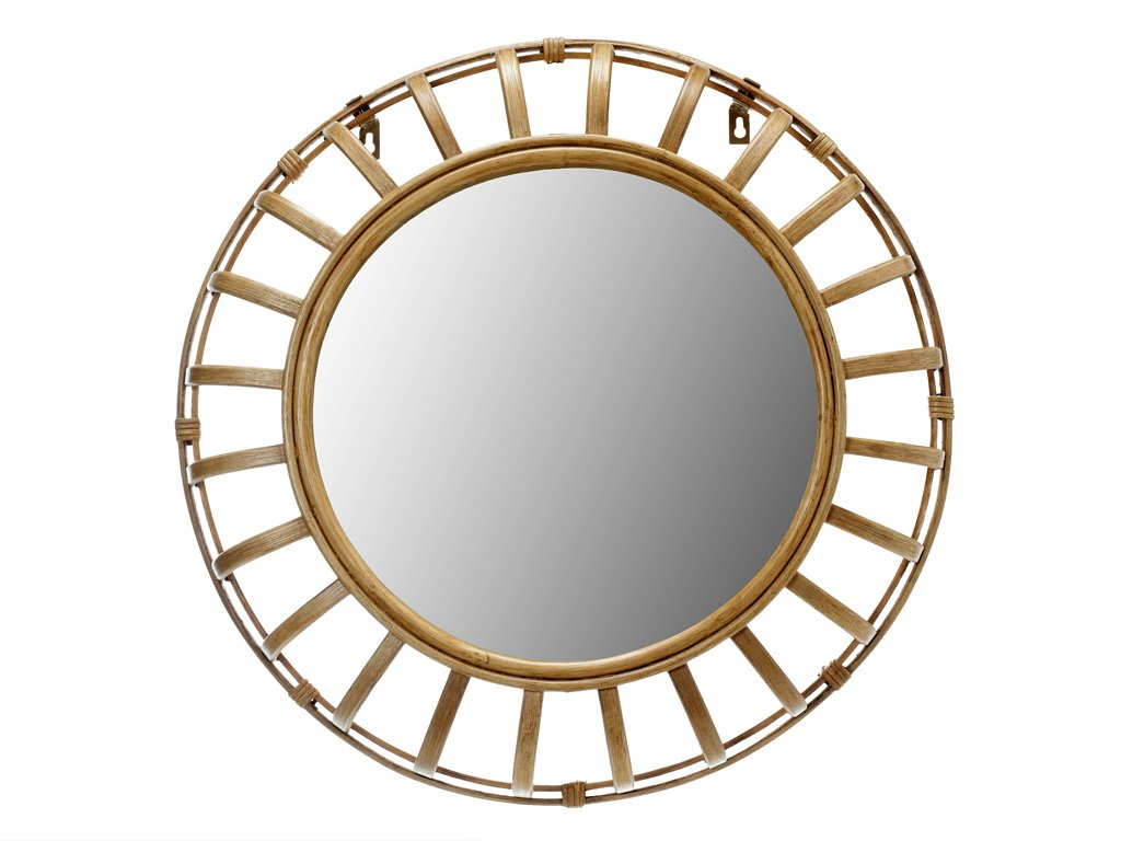 """KOUBOO 1040140 Rattan Ray Wall Mirror, 27"""" x 4"""" x 27"""" - Diameter 27 inches x 4 inches deep Frame hand made from rattan Mirrored glass can be cleaned with any glass cleaner - bathroom-mirrors, bathroom-accessories, bathroom - 614FIYmHPSL -"""