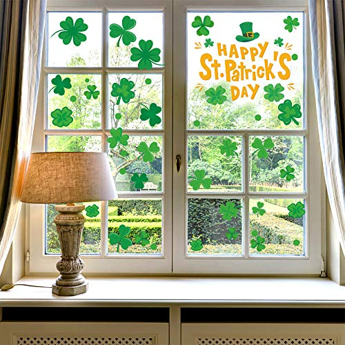 46PCS St. Patrick's Day Four Leaf Clover Window Sticker Decorations, Irish Shamrock Happy St. Patrick's Day Party Window Clings