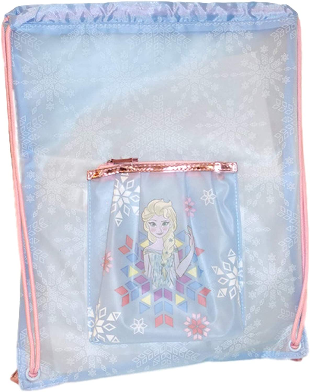 Girls Disney Frozen 2 Drawstring Gym Bag Kids Elsa Anna Swimming Bag Backpack