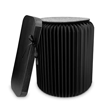 Navaris Taburete de cartón Plegable - Mesita Auxiliar portátil de 42x36CM - Silla de cartón Corrugado con cojín de Fieltro Reversible en Negro