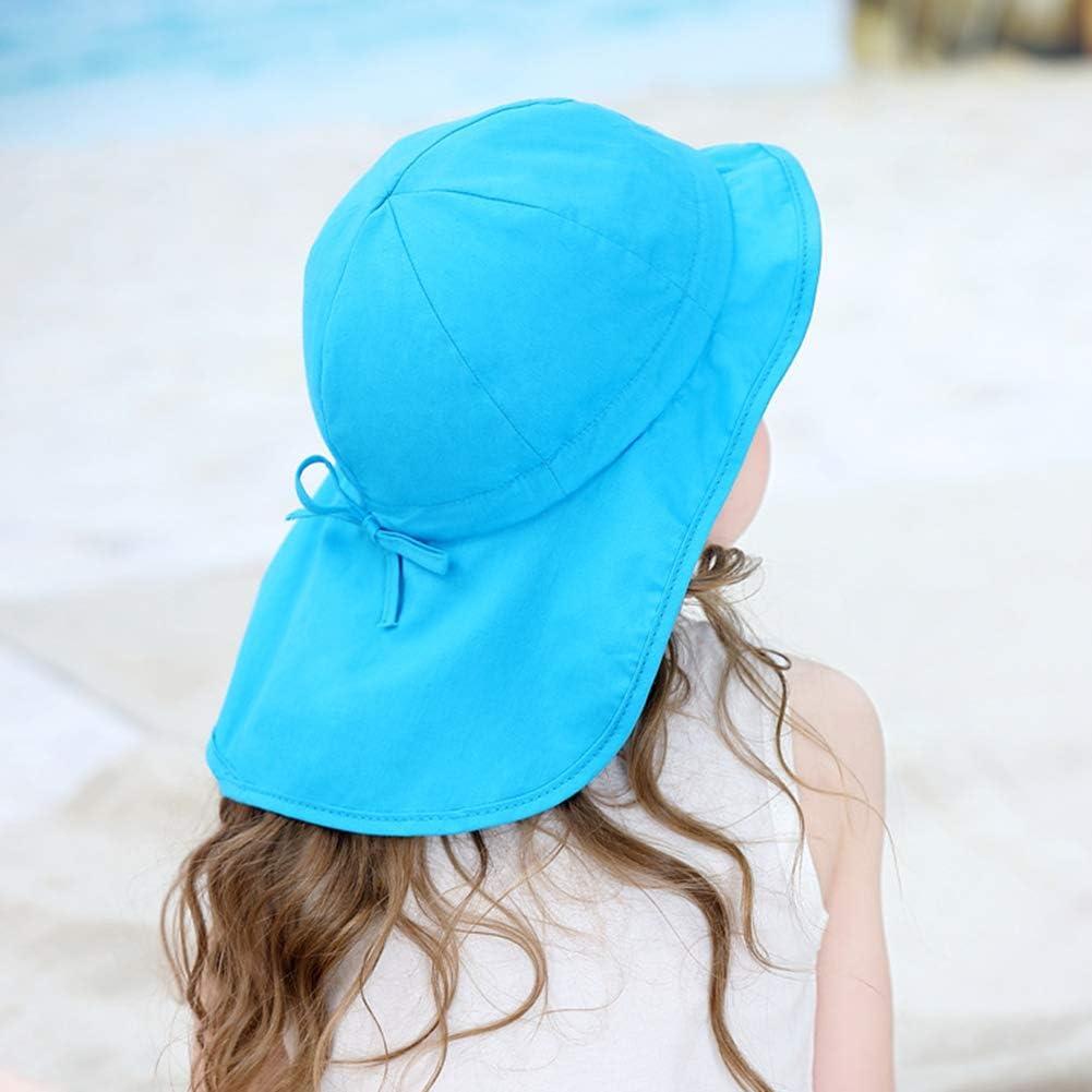Boomly Bambino Cappello da Sole con Protezione per Il Collo Protezione UV Berretto con Visiera con Cinturino per Il Mento Cappellino con Scialle Anti-UV Visiera cap