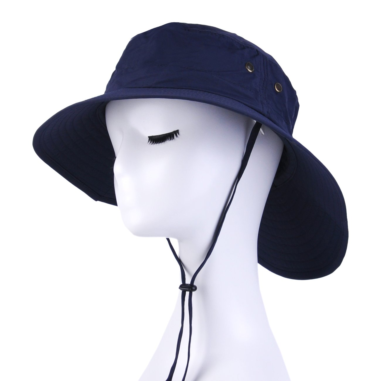 Jormatt Women&Mens Outdoor Wide Brim Sun Boonie Hat Summer UV Protection Fishing Hiking Gardening Neck Face Cover Flap Sun Cap with Chain Strap Foldable Breathable SPF UPF 50+,Navy Blue