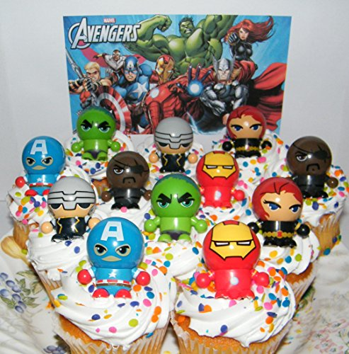 Marvel Avengers Super Hero Deluxe Mini Cake Toppers Cupcake Decorations Set of 12 Fun Figures with neat Bouncy Ball Switchable Heads includes the Hulk, Iron Man (Superhero Cake Decorations)
