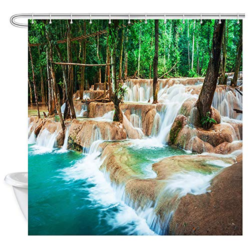 Travel Jangle Landscape Shower Curtain, Amazing Turquoise Water of Cascade Waterfall at Deep Tropical Rain Forest Bath Curtains, Fabric Shower Curtain for Bathroom 12PCS Shower Hooks, 69X70 in