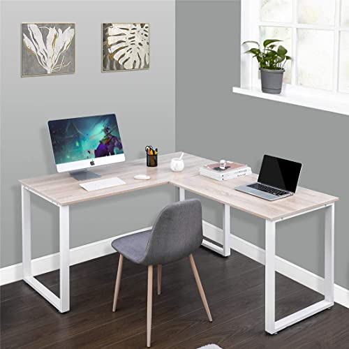 Binrrio L-Shaped Computer Desk Corner Computer Game Desk PC Laptop Table Modern Durable Wood Computer Table
