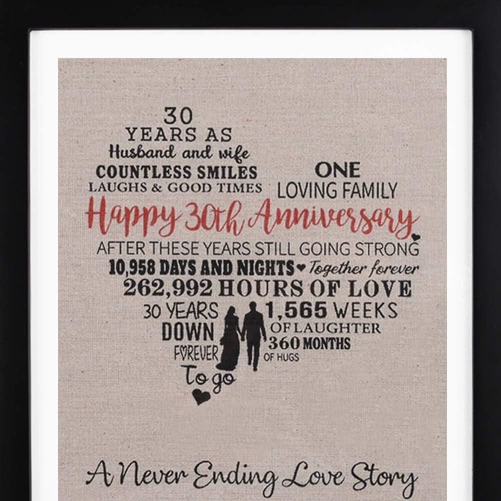 Amazon Com Framed 30th Anniversary Heart Burlap Print Decorations 30 Years Wedding Anniversary Gift For Men 30th Anniversary Gift For Women Kitchen Dining