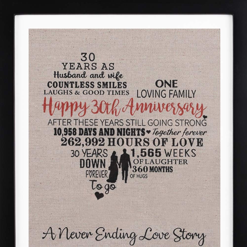 Framed 30th Anniversary Heart Burlap Print Decorations 30 Years Wedding Gift For Men Women