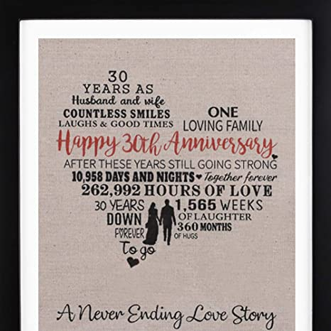 1 Year Wedding Anniversary Gifts For Her.Framed 30th Anniversary Heart Burlap Print Decorations 30 Years Wedding Anniversary Gift For Men 30th Anniversary Gift For Women