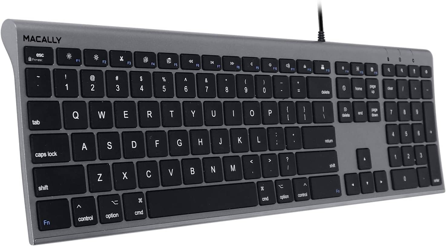 Macally Ultra Slim USB Wired Computer Keyboard - Works as a Windows or Mac Wired Keyboard - Full Size Keyboard with Numeric Keypad & 20 Shortcut Keys - Plug and Play Mac Keyboard - Space Gray