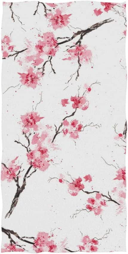 Naanle Watercolor Floral Print Cherry Blossom Pattern On White Soft Bath Towel Absorbent Hand Towels Multipurpose for Bathroom Hotel Gym and Spa 30