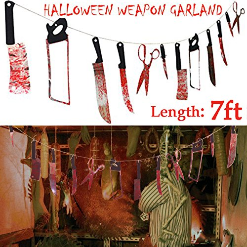 Pawliss Halloween Scary Bloody Splattered 12 Weapons Knife Garland Party Decorations Hanging Zombie Prop