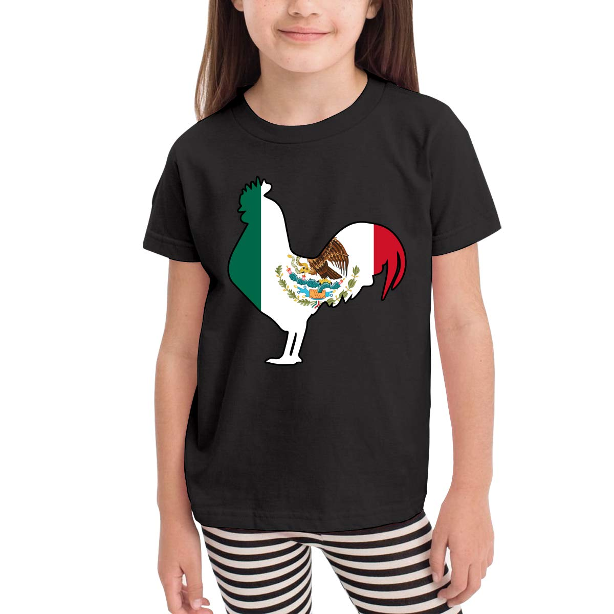CERTONGCXTS Little Boys Flag of Mexico Rooster Cotton Short Sleeve Tee Shirt Size 2-6