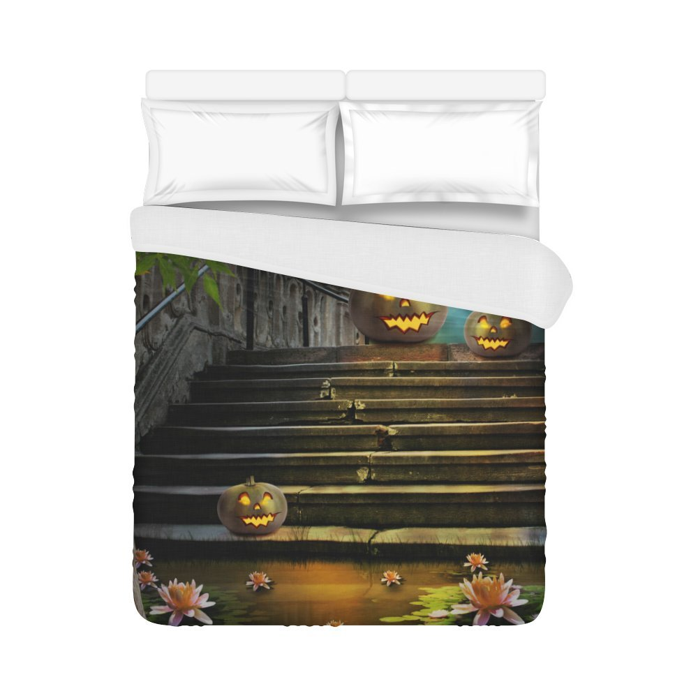 your-fantasiaホーム寝具布団カバーHalloween Pumpkins In Old Stone Staircase Nightキルトカバー86 x 70インチ 86x70 Inches B0756WXQN4 86x70 Inches|カラー31 カラー31 86x70 Inches