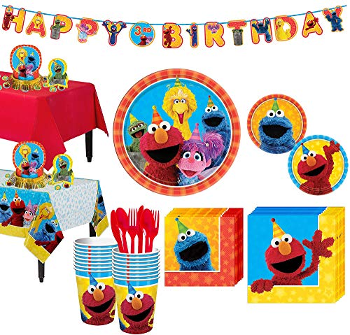 (Party City Sesame Street Tableware Party Supplies for 16 Guests, Include Plates, Napkins, Table Covers, and Decorations)