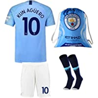 #10 KUN Aguero Manchester City 18/19 Home Kids/Youth Soccer Jersey &