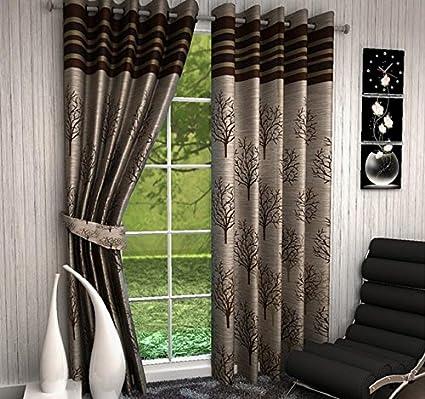 CURSTY Texture Floral 2 Piece Eyelet Jute Long Door Curtain Set   9ft, Brown